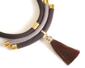 Brown Rope necklace- Multi Strand Rope Tassel necklace-Tassel Rope jewelry- Tassel necklace Tribal Necklace-Cord Jewelry-Statement Necklace-