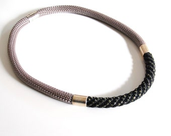 Cord necklace-Light Brown And Black Khaki Gold  Rope Cord Choker necklace- Rope jewelry-Brown cord Necklace- Statement Necklace-Cord Jewelry