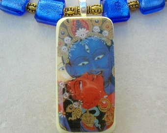 SALE - 50% off, Tibetan God & Consort - Yab Yum (Father Mother), Domino Pendant, Glass, Tibetan Amber Resin, Necklace Set by SandraDesigns