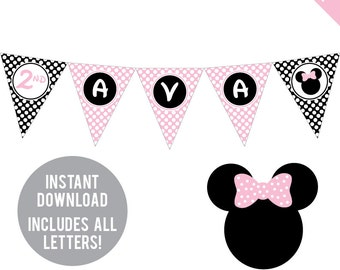 INSTANT DOWNLOAD Minnie Mouse Party in Baby Pink - DIY printable pennant banner - Includes all letters, plus ages 1-18