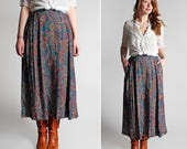 Vintage Paisley Skirt - Long Pleats Full A-line Midi Fall Maroon Blue Brown Daywear Casual 1990's 90's Woven - Size Medium Large