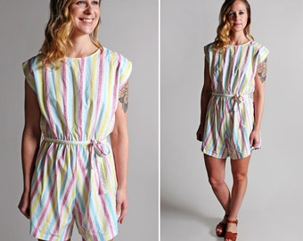 Vintage Striped Summer Romper - Cotton Stripes Pastel White Pink Yellow Jumpsuit Woven Vacation Resort Blue Beach 1980s - Size Medium
