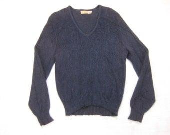 1950s Mohair Blend Sweater Vintage Mid Century Navy Blue Fuzzy Mattsons' Hollywood V-Neck Jumper Size Medium