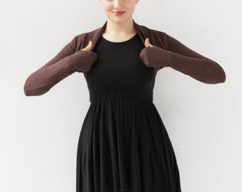 Ballet Shrug | Bolero Shrug | Brown Long Sleeve Shrugs |Women's Brown Bolero|