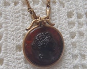 Vintage Pocket Watch Chain Carnelian Glass Intaglio Fob Gold Filled