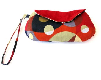 Clutch bag wristlet, colorful purse, heavy weight cotton and suede, small handbag, geometric print, magnetic snap closure