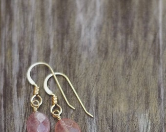 15% OFF SALE Sunstone Gemstone Earrings- 14k Gold Fill or Argentium Sterling Silver