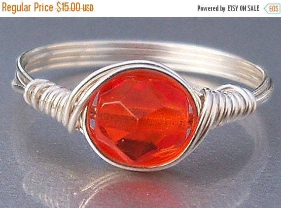 30% OFF Citrus Orange Czech Glass Argentium Sterling Silver Or 14k Gold Filled Wire Wrapped Ring