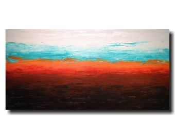 """Original Large Abstract painting- 24 X 48""""-by Artist JMJartstudio-Cycling Through-Wall art -Blue painting-Oil painting-XXL"""