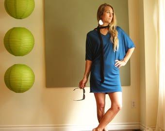 NEW Minimalist Dolman Sleeve T Shirt Dress Plus Size Tunic Loose Oversized Shorter Sleeve V Neck XS - XL (More Colours) Lightweight Jersey