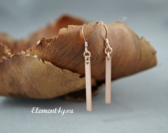 Rose gold filled earrings slender bar drop earrings modern dangle earrings 14k rose gold filled