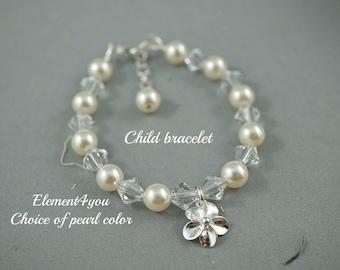 Flower girl bracelet, wedding child bracelet, Sterling silver flower charm, Swarovski crystals pearls, Pink white ivory blue purple bracelet