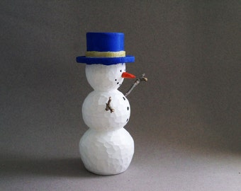 Snowman wood carving