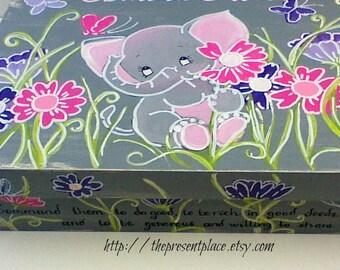 Large,elephant,keepsake box personalized,customized,pink,purple,grey,themed box,ballet box,girls memory box,children's boxes,elephant box