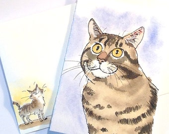 Original Cat Painting Card Watercolor Tabby Cat Portrait with Hand Painted Envelope & Funny Cat Sticker