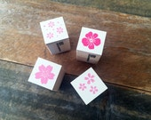 Cute Mini Japanese Wooden Rubber Stamp-Sakura, Petals, Flora at your choice