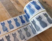 mt ex 2017 Japanese Washi Masking Tapes - mt x mina perhonen Black and Blue Cat at your choice for scrapbooking, Journaling, packaging