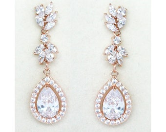 CZ Tear Drop Rose Gold Bridal Earrings Wedding Cubic Zirconia  Bridal Jewelry Rose Gold Crystal Wedding Earrings-Natalie Earrings