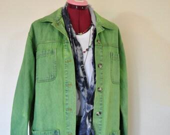 "Green Petite Large Denim JACKET - Lime Apple Green Dyed Upcycled Cabin Creek Denim Barn Blazer Jacket - Adult Womens Size Large (48"" chest)"