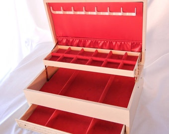 Vintage Jewelry Box, Deluxe Red Velvet Lining, Triple Decker Jewel Trays and Hooks, Cream Gilded Exterior, 50s 60s