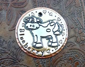 Custom Dog ID Tag-Cow ID Dog Tag-Personalized Pet ID Tag-Dog Collar Identification Tag