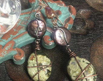 Pearl and Stone earrings, ThePurpleLilyDesigns