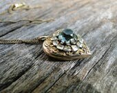 Vintage Ornate Gold Filled Heart Locket with Aqua Paste Stone