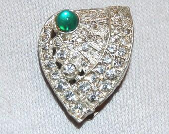 Vintage / Green / Cabochon / Dress Clip / Clear / Bridal / Wedding / Rhinestone / Sparkling / old jewelry