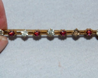 Vintage / Antique / Victorian / C Clasp / Brooch / Amethyst / Rhinestone / Gold Tone /  Bar Pin /  Old Jewelry
