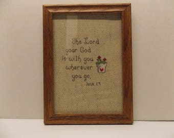 finished cross stitch scripture Joshua 1:9 framed 5x7 with glass