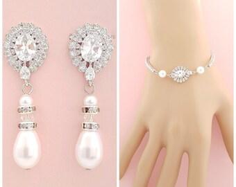 Bridal Earrings Bracelet Set Wedding Jewelry Set Pearl Crystal Drop Earrings Crystal Wedding Bracelet Bridal Jewelry, Sophia