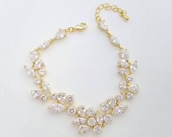 Gold Bridal Bracelet, Cubic Zirconia Bracelet, Rose Gold, Crystal Wedding Bracelet for Bride, Wedding Bridal Jewelry, Nicole Bracelet