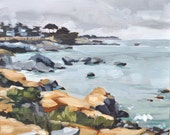 Oil Painting Monterey Seascape - Original Landscape Painting by Sharon Schock 8x10 on canvas