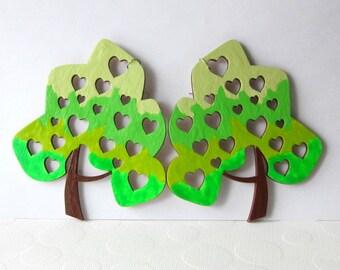 Extra Big Earrings Huge Tree Earrings Oversized Very Large Tree Earrings Laser Cut Wood Earrings Painted Tree Green Hearts in Tree