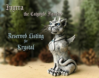 RESERVED for Krystal - Innyra the Winged Catgoyle - Miniature Fantasy Gargoyle Guardian Figurine - Handmade Polymer Clay Sculpture