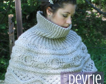 DIGITAL Download, Knit Cowl, KNITTING PATTERN, Knit Capelet, Chunky Knit Cowl, knit ponch pattern