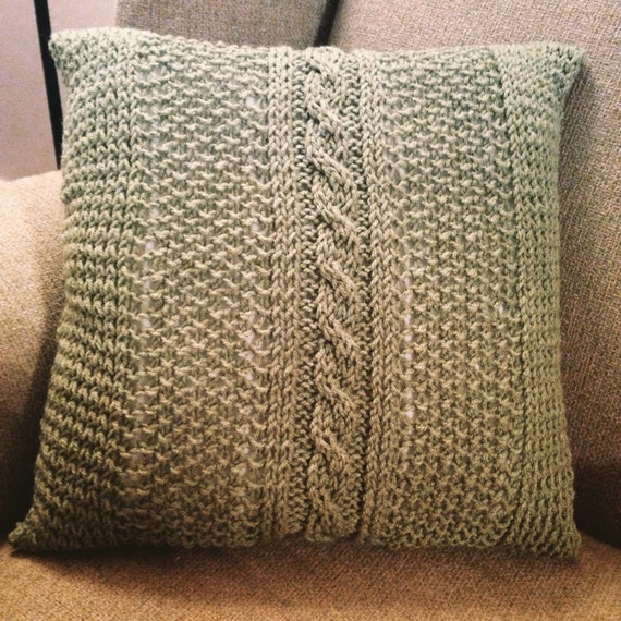 Soft Sage Green Throw Novelty Fair Aisle Knit Pillow Cover 16x16 inches