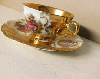 Vintage gold lustre cup and saucer/Vintage cup and saucer set made in Germany