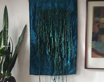 Fabric Wall Hanging, Textile Art, Teal Fiber Art Wall Hanging, Knotted Yarn Art, Teal Wall Hanging, Blue Green Free Form Art- Teal Tendrils
