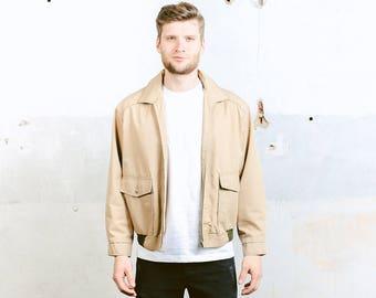 Bomber Jacket . Men's Outerwear Beige Coat Vintage 70s Jacket Lightweight Spring Jacket Minimalist Jacket . size Large L