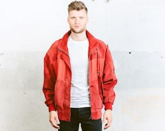 Vintage Suede BOMBER Jacket . Mens Red Jacket 90s Grunge Coat Button Up Flight Aviator Outerwear Oversized Jacket . size Large