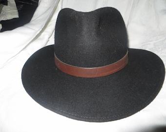 RETRO  vintage Indiana Jones style black wool outback hat sz large  USA mADE