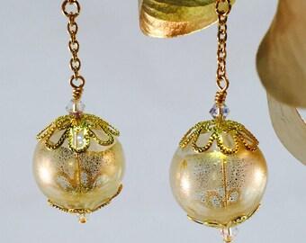 Golden Earrings, Handblown Glass Orbs On Chains, Great Gift!