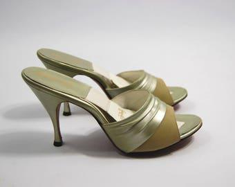 1950s Mint Green Springolators - size 6.5S // Green Springolators - Spring-o-lators Leonardo Mules Backless Stiletto