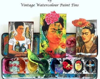 FRIDA KAHLO Collection of Vintage Watercolor Paint Tins, One of a Kind, FRIDA No. 9