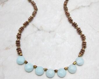 Boho Fringe Necklace. Aqua Mint Necklace. Mint Stone Necklace. Mint Gemstone Necklace. Aqua Stone Necklace. Gift for Her. TaraLynEvans ELLIE