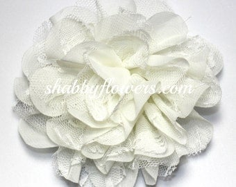 Ivory Chiffon & Lace Flower, Baby Girl Flower, 4 inch flower, Headband Supplies