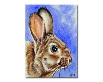 """BUNNY 143 Easter rabbit hare lapin watercolor and ink painting Sandrine Curtiss ORIGINAL art ACEO 2.5""""x3.5"""""""