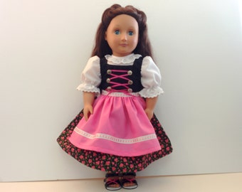 Bavarian Style Dirndl for American Girl and Other 18 inch Dolls