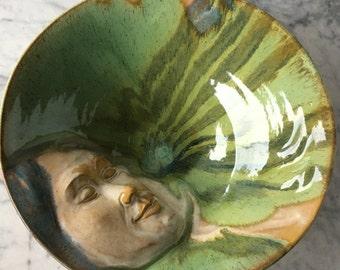 Ceramic Goddess Art Serving Bowl Wall Art Platter Bas Relief Figure Sculpture Large Centerpiece with Green Glazes